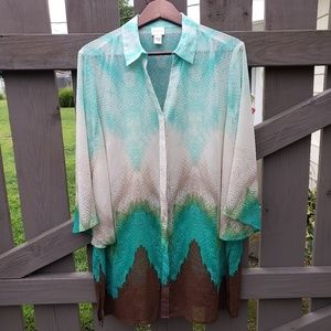 Chico's Button-up Blouse with Collar Size 12